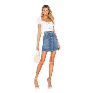 NWOT FRAME Claire Button Front Denim Mini Skirt